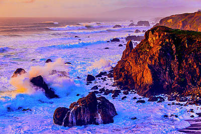 Photograph - Twilight Waves Crashing On Rocks by Garry Gay