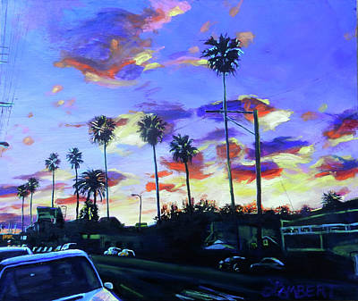 Painting - Twilight At Figueroa And 40th  by Bonnie Lambert