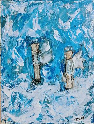 Painting - Twin Boy Angels by Jennifer Nease