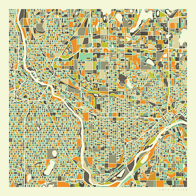 Twin Cities Map 1 Art Print