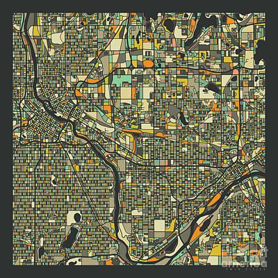 Minneapolis Wall Art - Digital Art - Twin Cities Map 2 by Jazzberry Blue