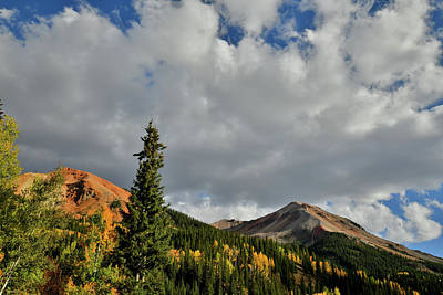 Photograph - Twin Red Mountain Peaks In Fall by Ray Mathis
