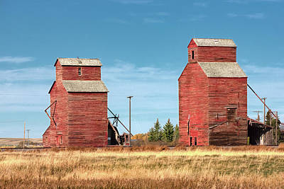 Grain Elevator Wall Art - Photograph - Twin Reds by Todd Klassy