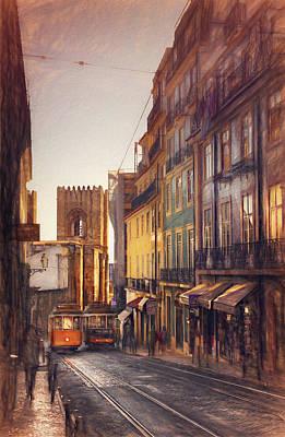 Impressionism Photos - Twin Trams of Lisbon Portugal  by Carol Japp
