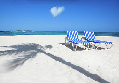 Lounge Chair Photograph - Two Beach Lounge Chairs by Grant Faint