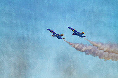 Photograph - Two Blue Angels Painted by Bonnie Follett