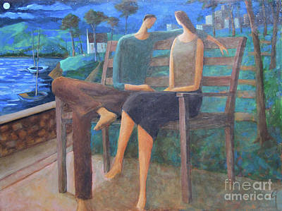 Painting - Two Boats In The Night by Glenn Quist
