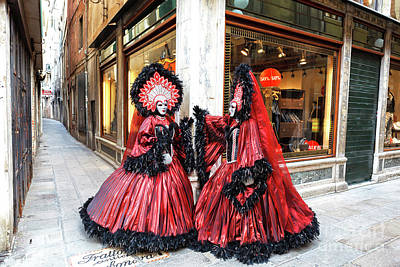 Photograph - Two Carnival Models Venice 2009 by John Rizzuto