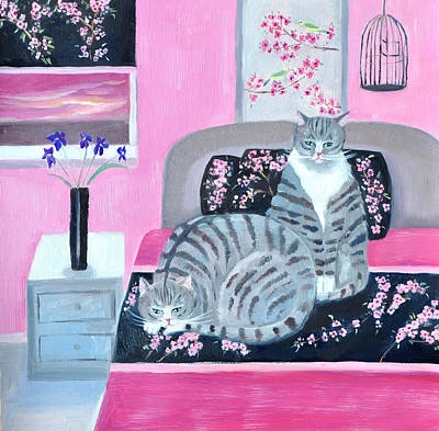 Painting - Two Cats Resting On Bed by Mary Stubberfield