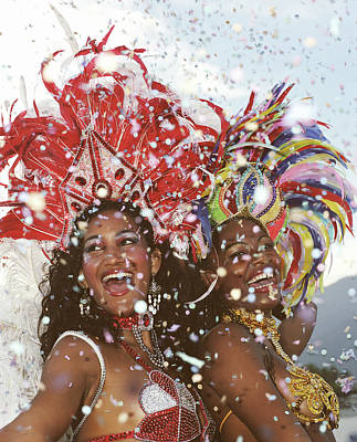 Photograph - Two Female Carnival Dancers Laughing by Tom Morrison