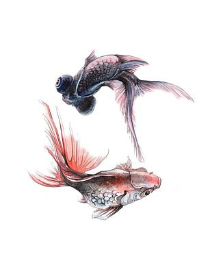 Painting - Two Fishes by Ina Petrashkevich