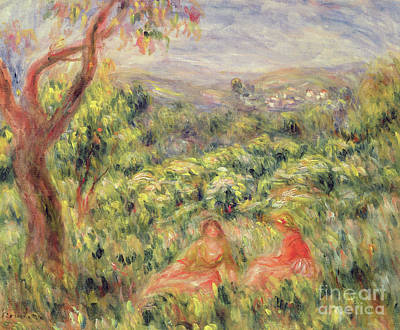 Painting - Two Girls Among Bushes, 1916 by Pierre Auguste Renoir