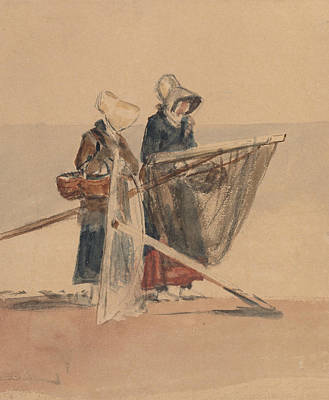 Drawing - Two Girls With Shrimping Nets by Peter De Wint