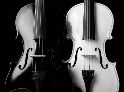 Photograph - Two Graphic Violins In Black And White by Garry Gay