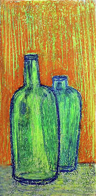 Painting - Two Green Bottles by Asha Sudhaker Shenoy