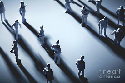 Photograph - Two Groups Of People Separated By Blank Space. by Michal Bednarek