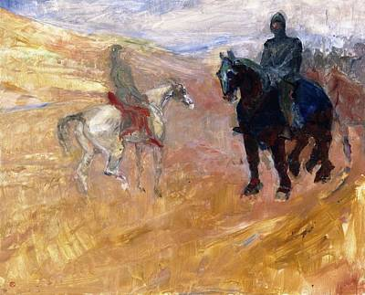 Lovely Lavender - Two Horsemen in Armor - 1898 - PC - Painting - oil on canvas by Henri de Toulouse-Lautrec