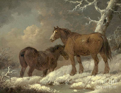 Painting - Two Horses In The Snow by George Morland