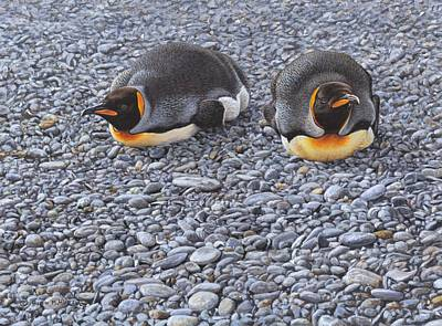 Painting - Two King Penguins By Alan M Hunt by Alan M Hunt