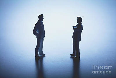 Photograph - Two Man Standing Face To Face On White Background. by Michal Bednarek