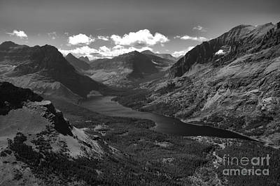 Photograph - Two Medicine Lake Overlook Black And White by Adam Jewell