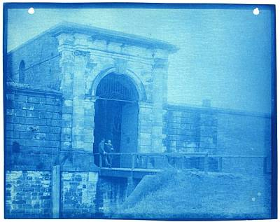Painting - Two Men At The Gate  Cyanotype Photograph By Thomas Smillie by Celestial Images