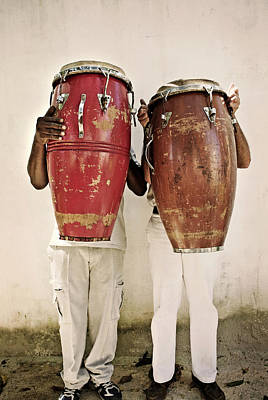 Holding Photograph - Two Men Holding Bongos In Front Of by Holly Wilmeth