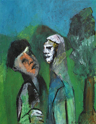 Painting - Two Men In A Field by Artist Dot