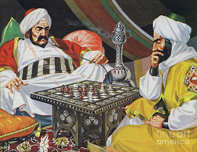 Painting - Two Men Playing Chess by Angus McBride