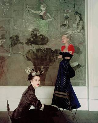 Photograph - Two Models In Schiaparelli Dresses by Horst P. Horst