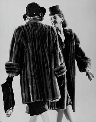Photograph - Two Models Posing Mink Coats & Stylish H by Gjon Mili