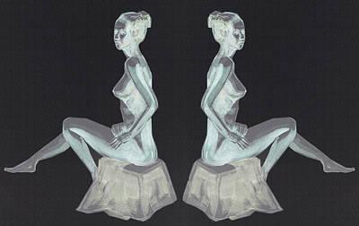 Painting - Two Nude Models Sitting Collage by Irina Sztukowski