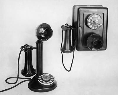 Two Old-fashioned Telephones Art Print by Authenticated News
