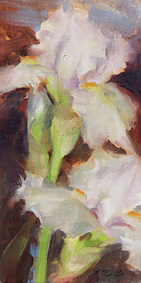 Painting - Two Pale Irises by Anna Rose Bain