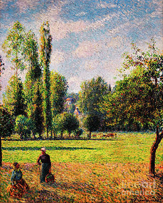 Painting - Two Peasant Women In A Meadow by Camille Pissarro