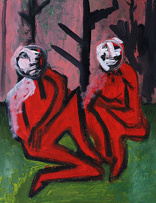 Painting - Two People Outside A Forest by Artist Dot