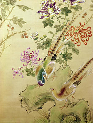 Leaf Painting - Two Pheasants, Chinese Art by 3lh-fine Art