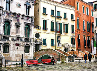 Photograph - Two Red Benches In Venice by John Rizzuto