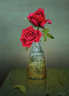 Digital Art - Two Red Roses by M Spadecaller