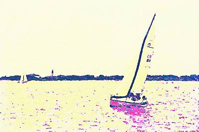 Tool Paintings - Two Sailboats And Oak Island Lighthouse 8 by Cathy Lindsey