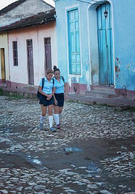 Wall Art - Photograph - Two Schoolgirls In Trinidad Cuba by Joan Carroll