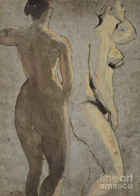 Painting - Two Standing Female Nudes, Verso by William Etty