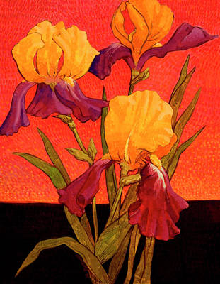 Leaf Painting - Two-toned Irises By John Newcomb by John Newcomb