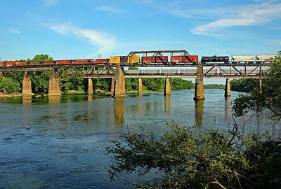 Photograph - Two Trains Over A River by Joseph C Hinson Photography