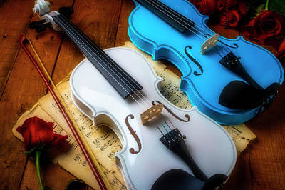 Photograph - Two Violins White And Blue by Garry Gay