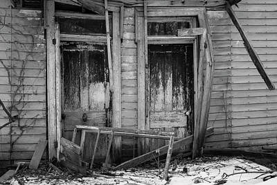 1-war Is Hell Royalty Free Images - Two Weathered Old Doors BW Royalty-Free Image by Jeff Roney