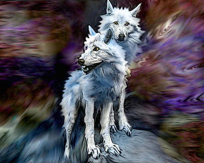 Digital Art - Two White Wolves by Shelli Fitzpatrick