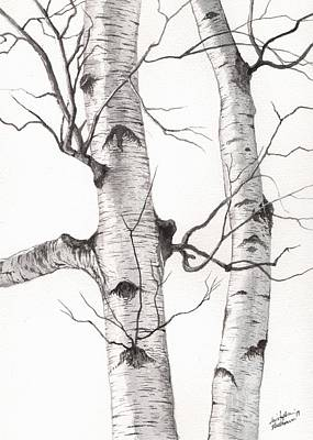 Painting - Two Wild Birch Trees by Christopher Shellhammer