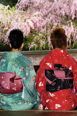 Photograph - Two Women In Kimonos Rear View by John W Banagan