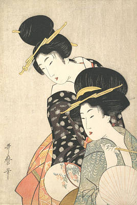Relief - Two Women by Kitagawa Utamaro